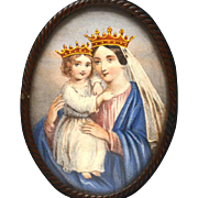 Antique Napoleon III Framed Colored Devotional Religious Lithograph Madonna and Child