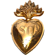 SOLD Large Antique Nineteenth Century Gilded Brass Sacred Heart Reliquary Ex Voto