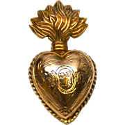 SOLD Small Antique Gilded Brass Sacred Heart Ex Voto Reliquary