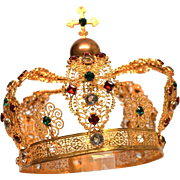 LARGE, Spectacular Antique Nineteenth Century French Gilded Brass Santos Royal Crown