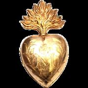 SOLD Impressive Nineteenth Century French Extra Large Gilded Brass Ex Voto Reliquary Sacred ..