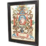Antique Late 18th Century French Hand Painted, Illuminated Monastery Work Altar Panel