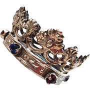 RARE Petite Silver Antique Nineteenth Century Italian Couronne with Large Glass Stones