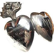 SALE PENDING Antique Nineteenth Century French Silver Sacred Heart Ex Voto Reliquary With ...