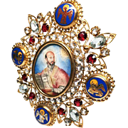 RARE Antique Nineteenth Century Napoleon III Devotional Agnes Dei Wax Seal Reliquary with Hand