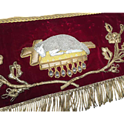 Fine Antique Nineteenth Century French Velvet and Metallic Embroidery Religious Banner