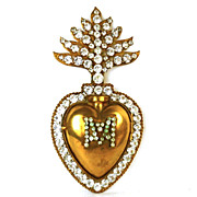 SOLD Antique French 19th Century Sacred Heart of Mary Ex Voto Reliquary