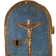 SOLD Antique French 18th Century Hand Painted Tabernacle Door