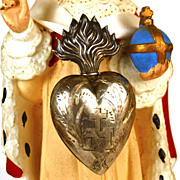 SOLD Antique 19th c. French Silver Flaming Heart Ex Voto Reliquaire/Reliquary