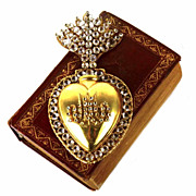 SOLD Large Antique Nineteenth Century French Gilded Sacred Heart Ex Voto Reliquaire