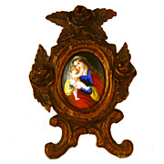 SOLD Miniature Antique 19th Century French Devotional Frame w/Hand Painted Enamel Plaque