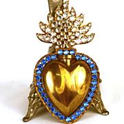 SOLD Antique 19th Century Sacred Heart Ex Voto Reliquary