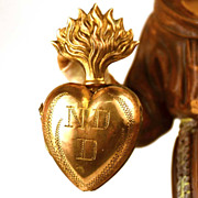 SOLD Small Antique 19th Century Gilded Brass Sacred Heart Ex Voto Reliquary