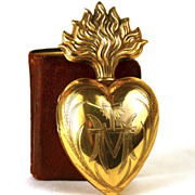 SOLD Antique 19th Century Gilded Brass Sacred Heart Ex Voto Reliquary