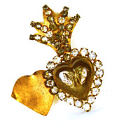 SOLD Small Antique 19th Century Gilded Brass/Metal Sacred Heart Ex Voto with Strass/Glass ...