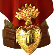 SOLD Antique 19th Century French Gilded Brass  Sacred Heart Ex Voto Reliquary