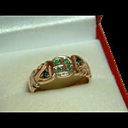 SALE Decorative Antique 15ct Rose Gold Emerald + Sapphire Gemstone Ring.
