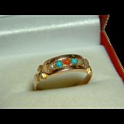 SALE Pretty Victorian(Birmingham 1879) 15ct Gold Turquoise, Orange Coral + Split Seed-Pearl ..