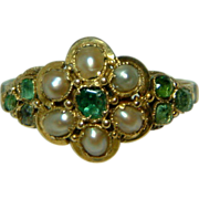 SOLD Very Attractive Antique 15ct Gold Emerald + Split Seed-Pearl Gemstone Cluster Ring.