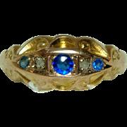 Ornate Antique(Chester Hallmark) 9ct Gold Diamond + Sapphire 5-Stone Gemstone Ring.