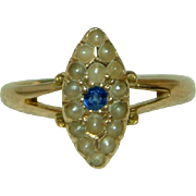 Exquisite Victorian(Birmingham 1894) 15ct Gold 'Marquise Shaped' Sapphire + Split Seed-Pearl .