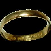 SOLD Victorian Birmingham 1879  22ct Gold Wedding Band Ring.