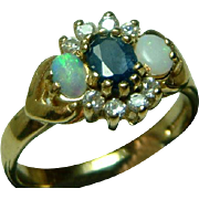 SALE Attractive Vintage 9ct Gold Sapphire, Opal + Cubic Zirconia Gemstone Ring.