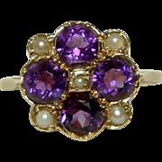SOLD Superb Antique 18ct Gold Amethyst + Split Seed-Pearl Gemstone Cluster Ring.