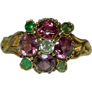 SOLD Pretty Antique 22ct Gold Diamond, Emerald + Almandine Garnet Gemstone 'Suffragette' Clust