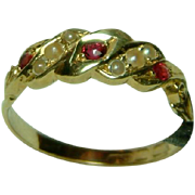 SALE Very Attractive Antique 18ct Gold Ruby + Split Seed-Pearl Gemstone Ring.