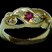 SALE Very Decorative Antique 18ct Gold Diamond + Ruby Gemstone Twist Ring.