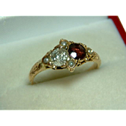 SOLD Superb Mid-Victorian Birmingham 1869  15ct Gold Diamond, Garnet + Split Seed-Pearl Gemsto