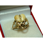 SALE Ornate Antique 9ct Gold 'Double Ivory' Gemstone Ring