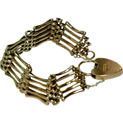 SOLD Attractive Antique 9ct Rose Gold 5-Bar Gate Bracelet With Padlock/Safety Chain.