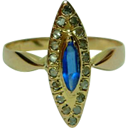 SALE Attractive Antique 18ct Gold 'Marquise Shaped' Diamond + Bristol Blue Glass Gemstone Ring