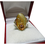 SALE Pretty Vintage 9ct Solid Gold 'Mother-Of-Pearl', Citrine + Ruby Gemstone Ring.