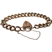 SALE Pretty Edwardian Birmingham 1907  9ct Rose Gold 'Chased Link' Bracelet With Sweetheart ..