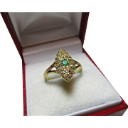 SALE Pretty Victorian Chester 1896  'Marquise Shaped' 15ct Gold Emerald + Split Seed-Pearl ...