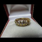 SALE Decorative B'ham 1918  18ct Solid Gold 5-Stone Diamond Gemstone Ring 0.1Ct Weight