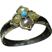 SALE Decorative Antique 15ct Gold Black Enamel, Turquoise + Split Seed-Pearl Gemstone Memorial