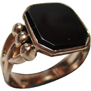 SALE Exquisite Antique 14ct Solid Rose Gold 'Octagonal Shaped' Black Onyx Gemstone Ring.