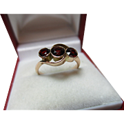 SALE Attractive Chester 1919  9ct Solid Rose Gold 3-Stone Garnet Gemstone Crossover Ring
