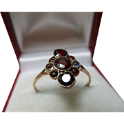SALE Attractive Chester 1929  9ct Solid Rose Gold Moonstone + Garnet Gemstone Cluster Ring.