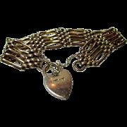 SALE Decorative Antique 9ct Gold 5-Bar Gate Bracelet, Sweetheart Padlock + Safety Chain