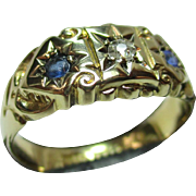 SALE Decorative Antique Chester 1912  18ct Solid Gold 3-Stone Diamond + Sapphire Gemstone Ring