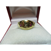SALE Victorian Birmingham 1885  15ct Gold 3-Stone Diamond + Ruby Gemstone Ring.