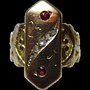 SALE Superb Georgian 18ct Solid Gold Diamond + Ruby Gemstone Ring