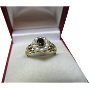 SALE Quality Georgian 18ct Gold Garnet + Split Seed-Pearl Gemstone Cluster Ring.