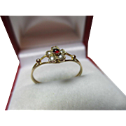 SALE Lovely Georgian 9ct Gold Garnet + Split Seed-Pearl Gemstone Cluster Ring.