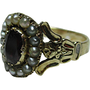 SALE Supreme Georgian 18ct Gold Garnet + Split Seed-Pearl Gemstone Cluster Ring.